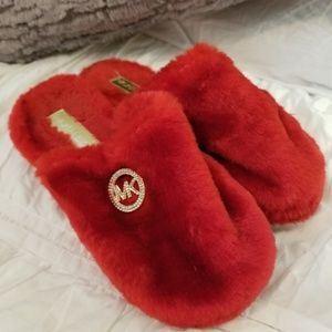 Michael Kors Red Fuzzy Slippers